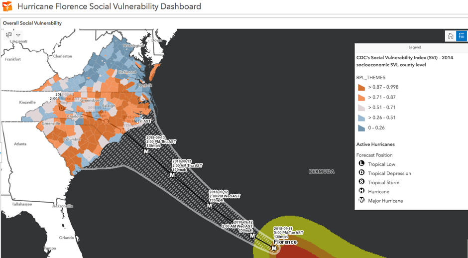map of social vulnerability in hurricane's path