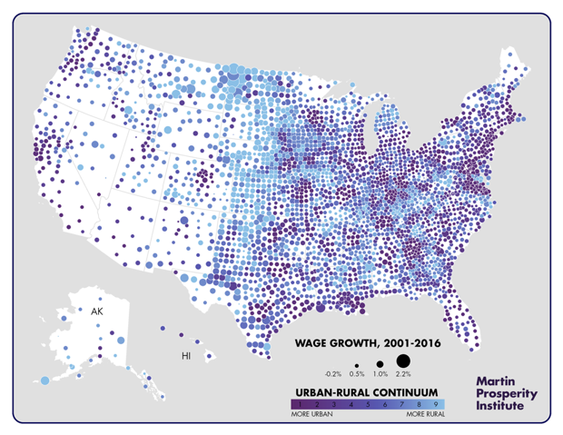 map of wage growth along urban-rural continuum