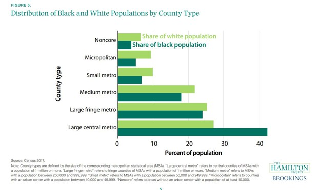 A bar graph of black and white population by county type