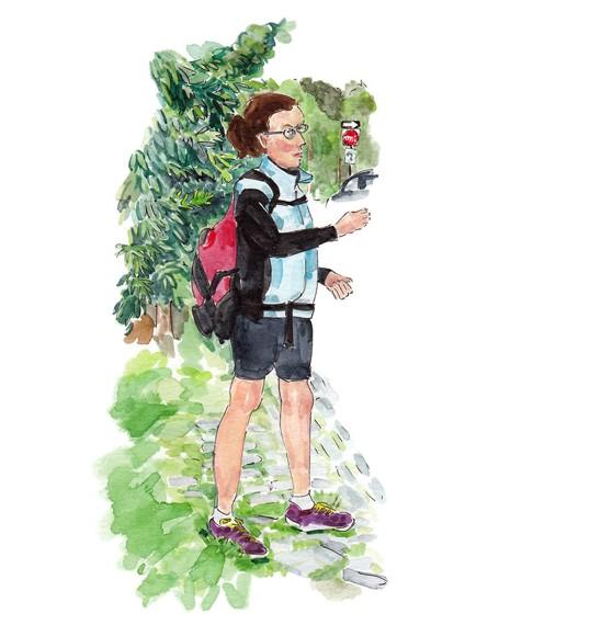An illustration of Victoria Desmarais walking through Mont-Royal Park
