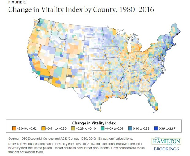 change in vitality index by county map