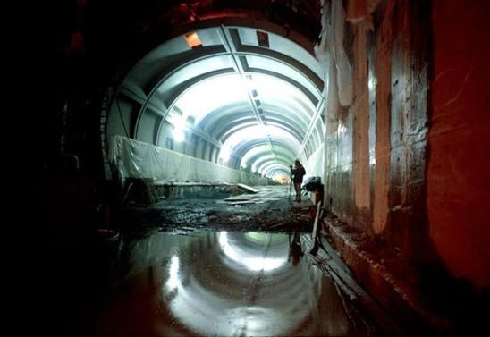 Construction in a Washington metro tunnel.