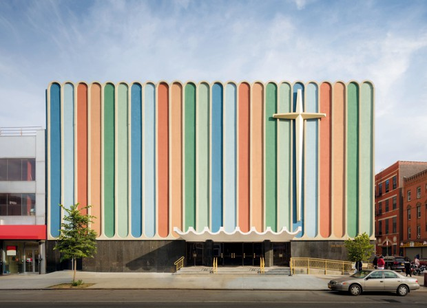 A 1960s, multicolored chruch facade in New York City