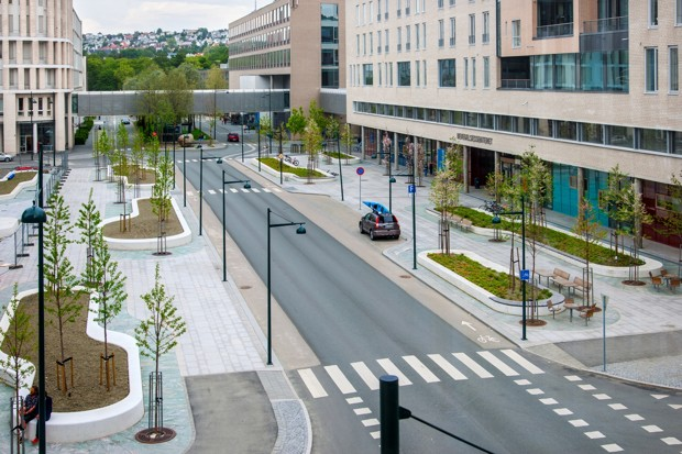 An aerial view of the new streetscape around St. Olav's hospital
