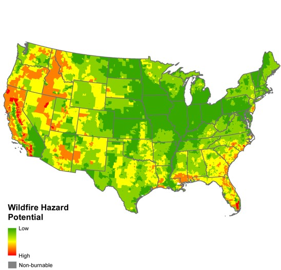 map of wildfire potential