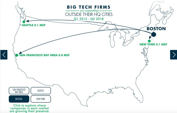 a map of where tech firms based in Boston are expanding