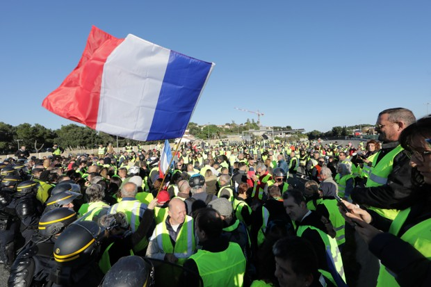 French drivers protest against higher fuel prices, block the motorway in Antibes, France, November 17, 2018.