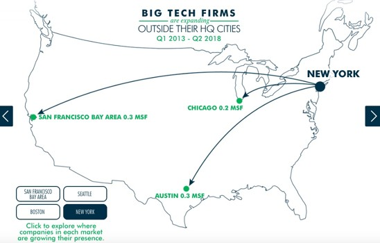 a map of where tech firms in New York are expanding