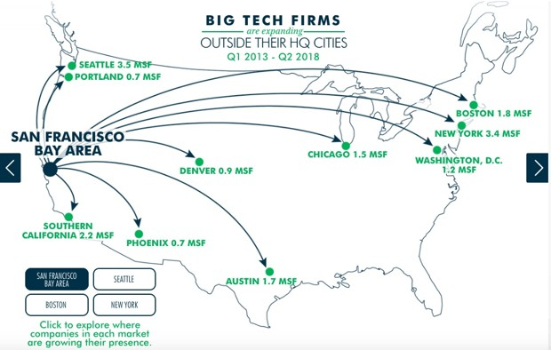 a map of where tech firms in the Bay Area are expanding
