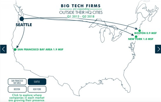 map that shows where Seattle-based tech companies are expanding