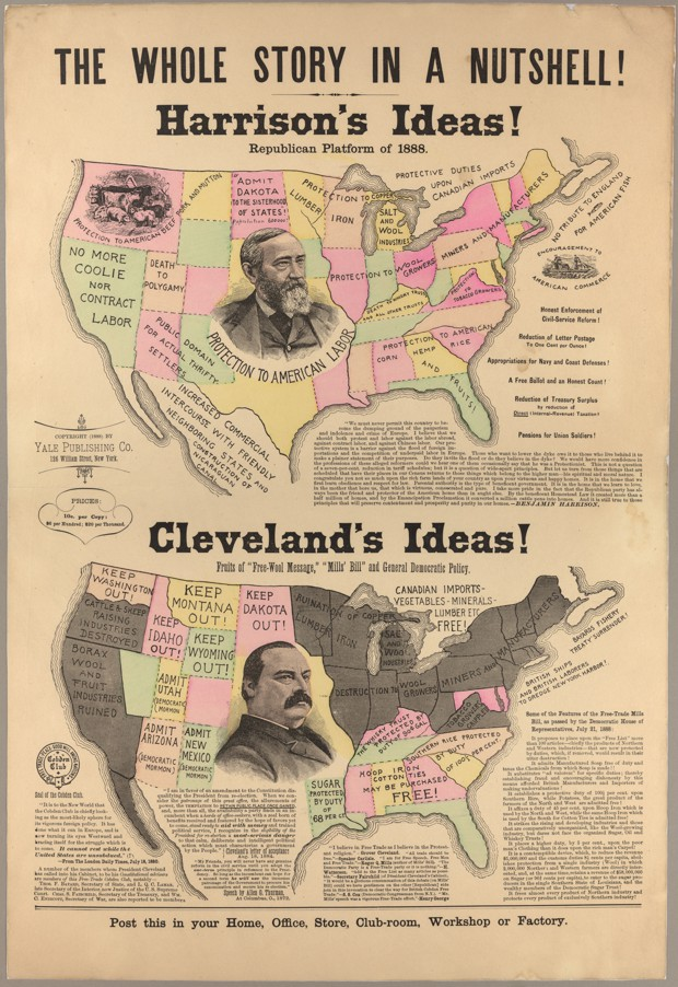 A persuasive map of trade policy positions in the 1888 election between Grover Cleveland and Benjamin Harrison.