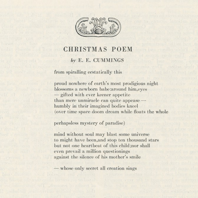 Christmas Poem.Christmas Poem By E E Cummings The Atlantic