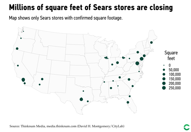 Locations of Sears stores facing closure