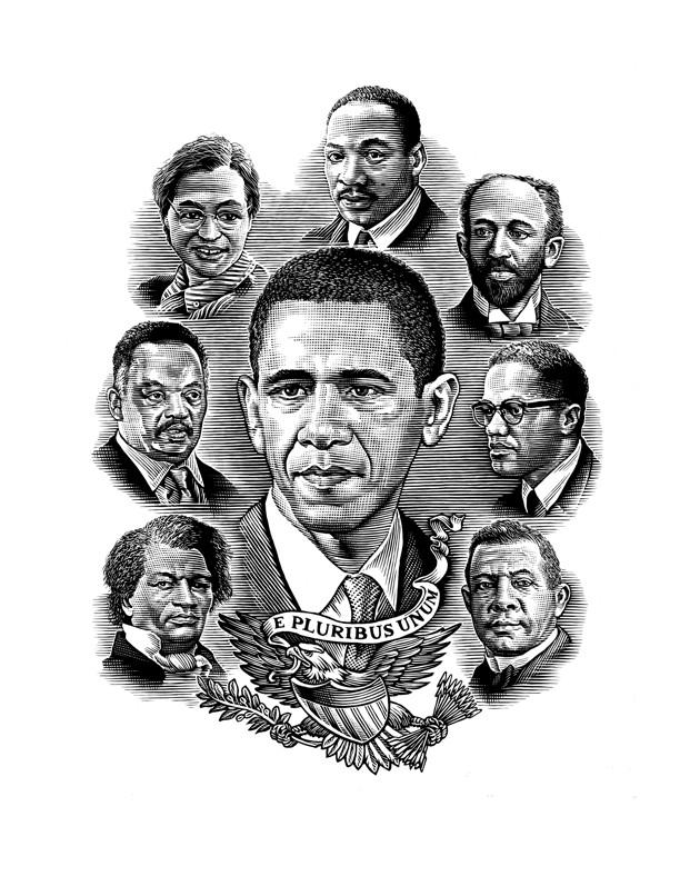 Frederick Douglass MLK Malcolm X Barack Obama Gallery Art Print Freedom Road