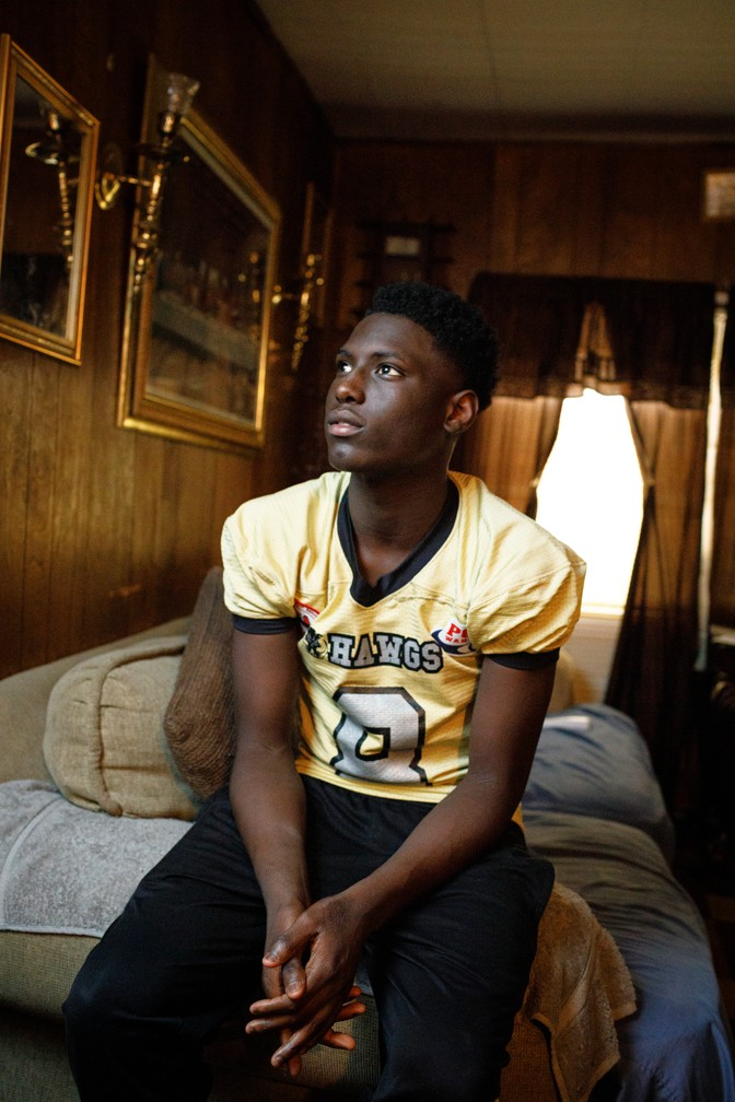Marqwayvian McCoy at home in his jersey (Dustin Chambers)