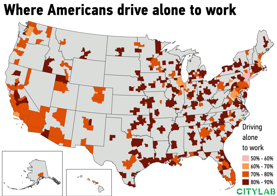 a U.S. metro map of where Americans drive alone to work