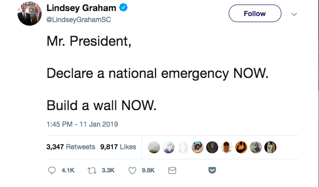 "Tweet from Senator Lindsey Graham reading ""Mr. President, Declare a national emergency NOW. Build a wall NOW."""