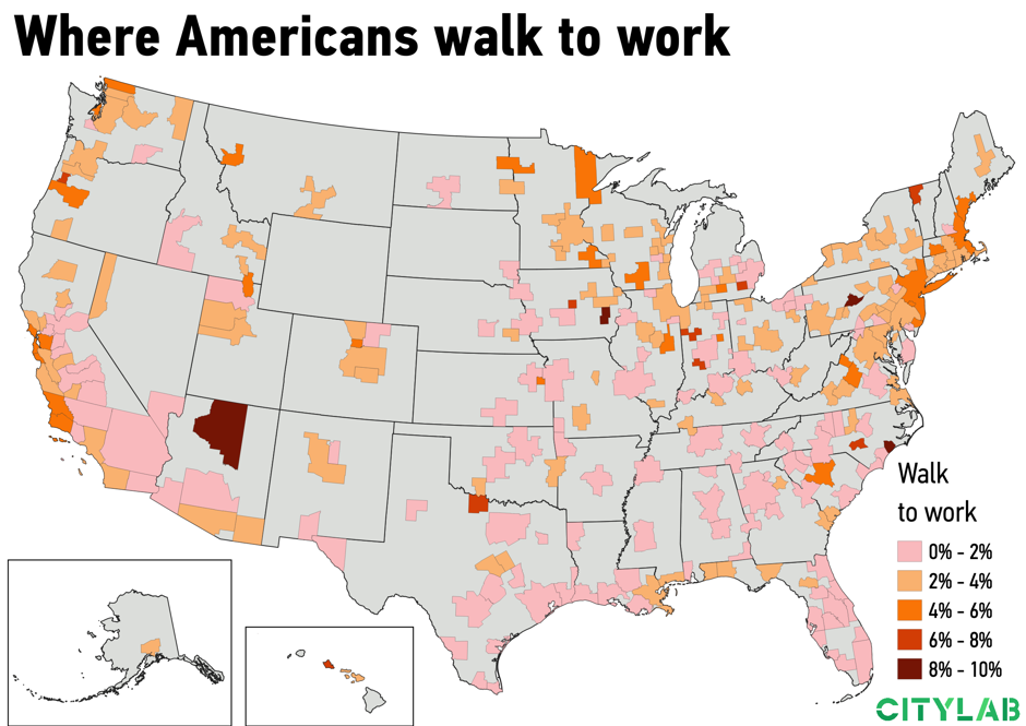a U.S. metro map of where Americans walk to work