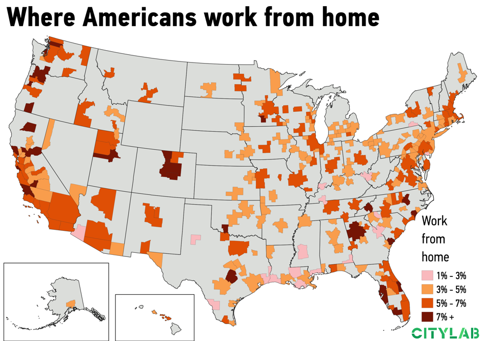 a U.S. metro map of where Americans work from home