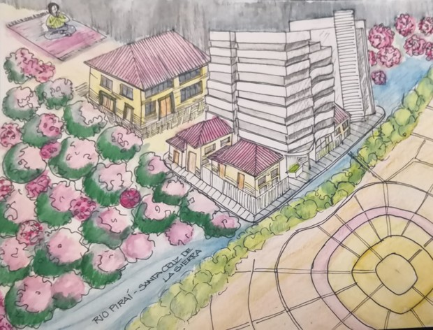 Watercolor images of a Bolivian garden and skyscraper