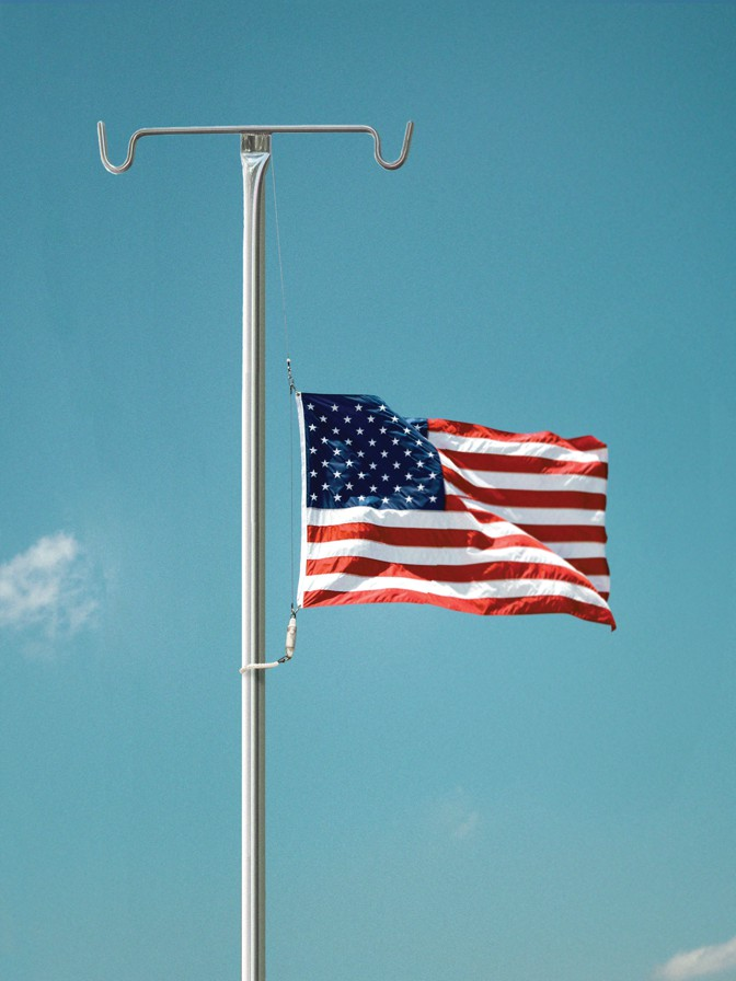 Illustration: American flag at half-mast on IV stand