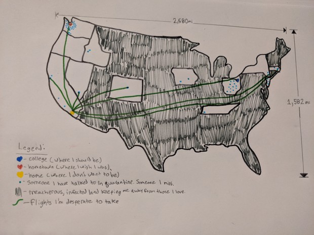 A hand-drawn map of the USA shows the separation of friends from the author
