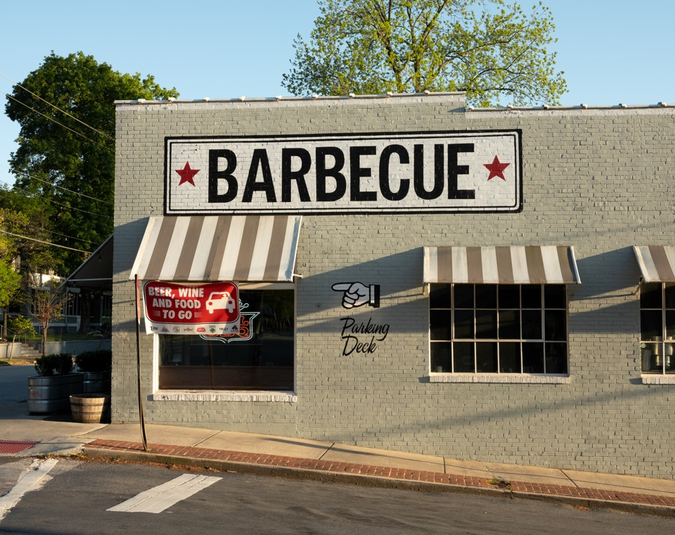 Sweet Auburn Barbecue on Highland Ave, open for carry out, in the Poncey Highland neighborhood. (Joshua Dudley Greer)