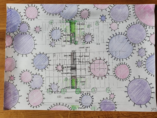 A floorplan of a Northern Ireland home with viruses floating on the border