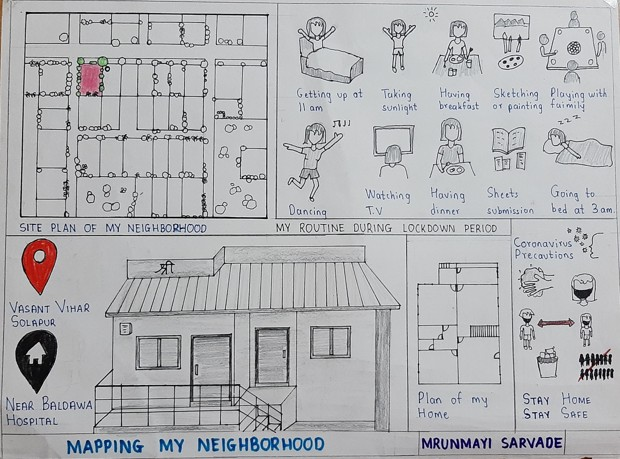 A pen-and-paper drawing of an Indian neighborhood under lockdown