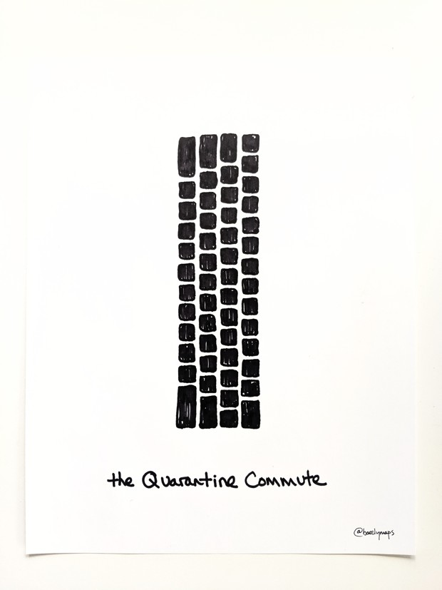 An abstract drawing of a computer keyboard, entitled 'The quarantine path'
