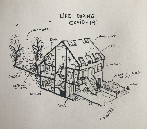 Pen drawing shows cutaway of the author's Iceland home