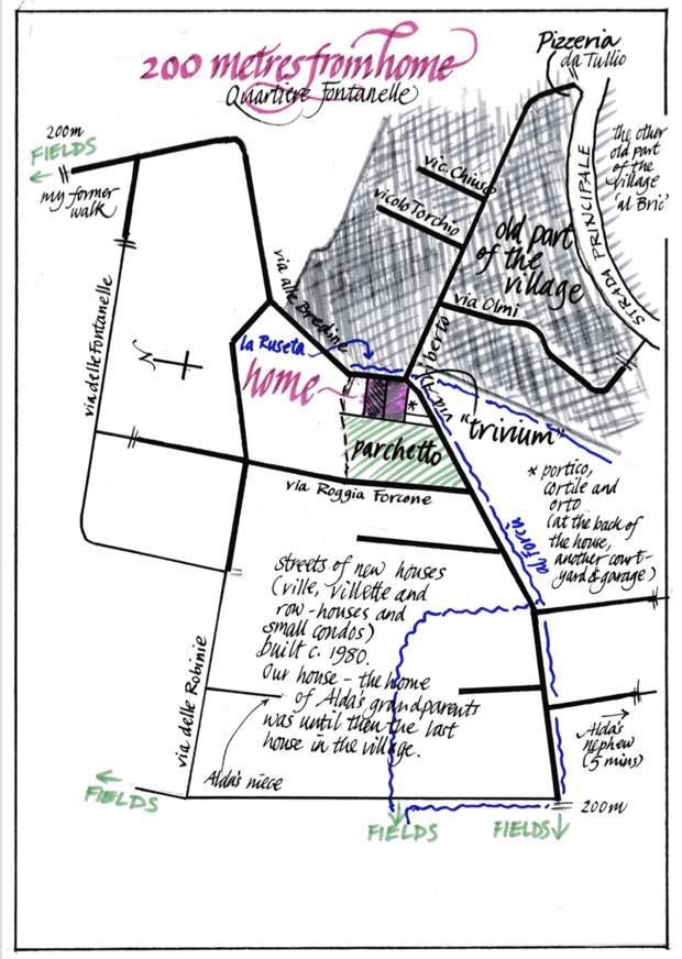 A hand-drawn map with calligraphy of an Italian neighborhood