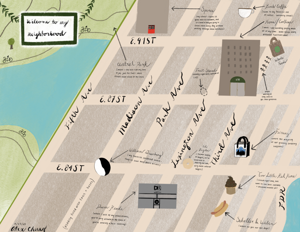 A map of an Upper East Side neighborhood in New York, with pharmacies, ice cream, camera store