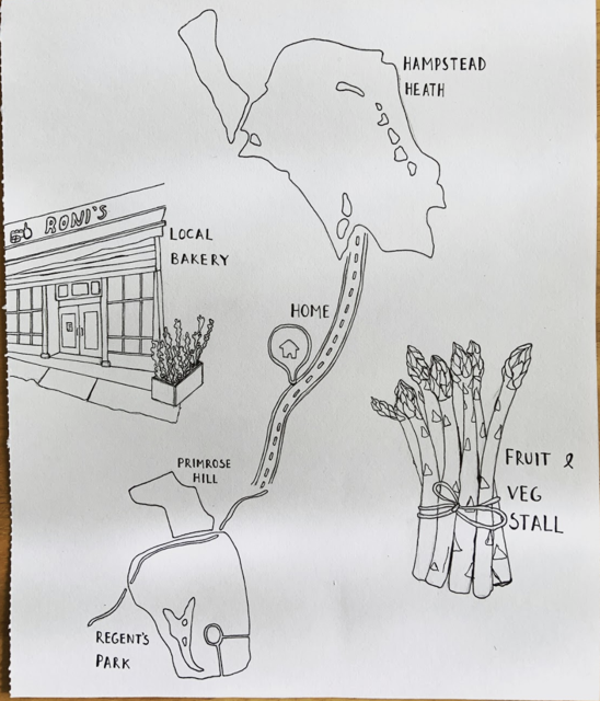 A pen drawing of asparagus, a local bakery and the route between the author's house, Hampstead Heath and Regent's Park.