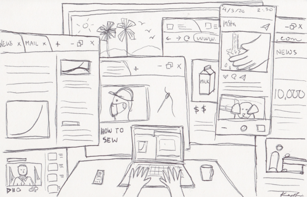 A chaotic pen drawing shows the chaos of the author's internet browser: