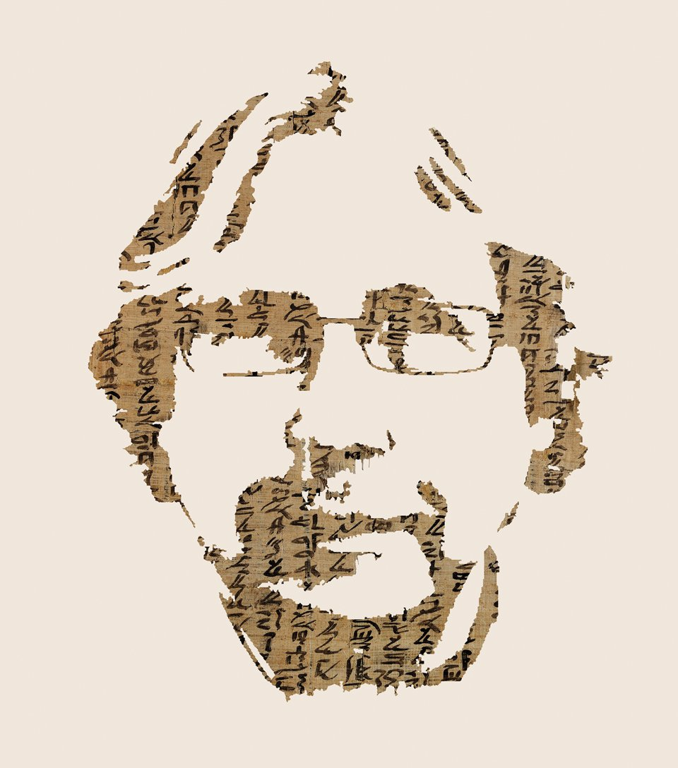 Illustration: Dirk Obbink portrait made of papyrus fragments