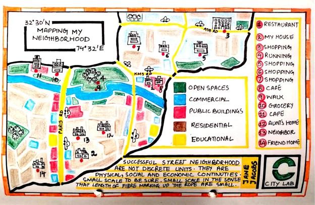 Hand-drawn colorful map of the Pakistani neighborhood