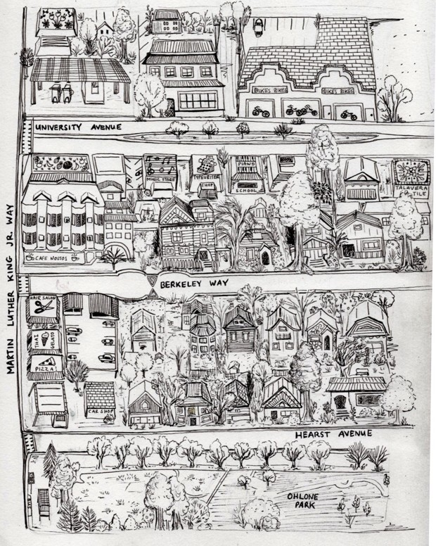 Hand-drawn map of the residential district of Berkeley, California