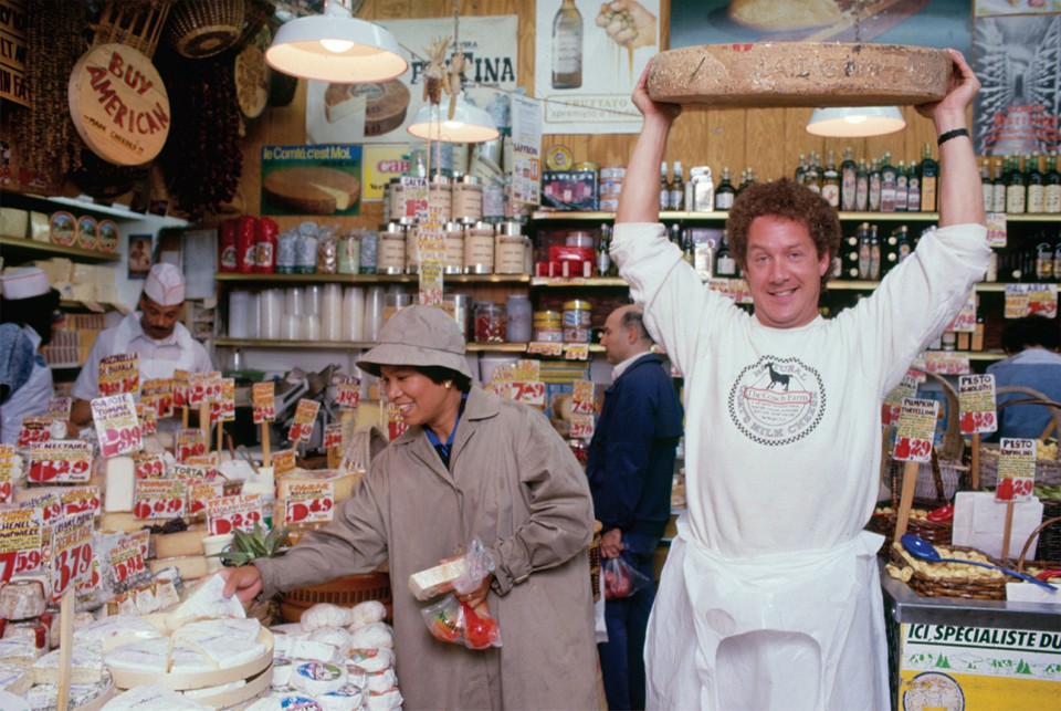 1988 photo of Steven Jenkins in cheese department