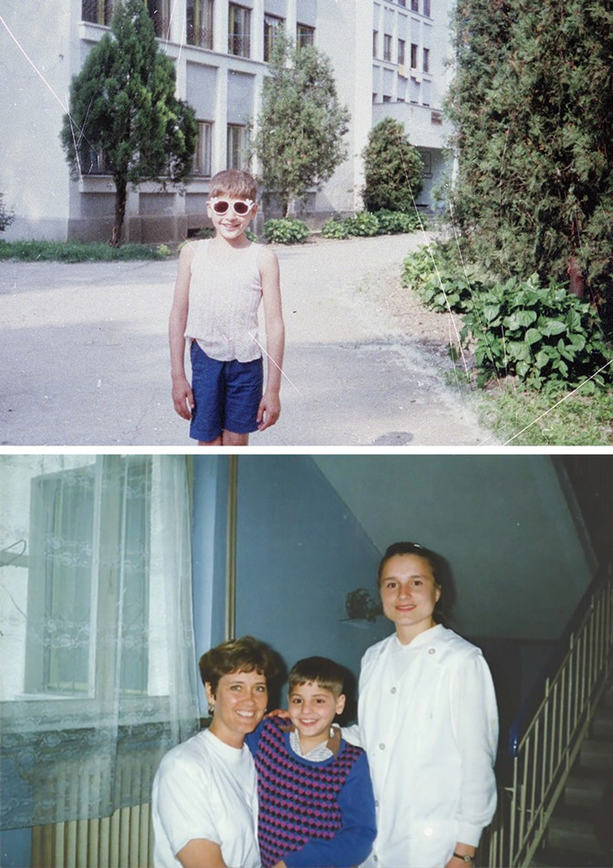 Izidor in front of his orphanage in June 1991, four months before the Ruckels adopted him and brought him to the United States; 11-year-old Izidor meets Marlys Ruckel for the first time in Romania, with one of the orphanage workers.