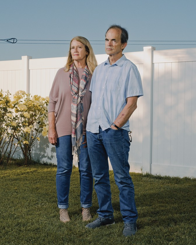Izidor's parents, Marlys and Danny Ruckel, outside their home in Temecula, California