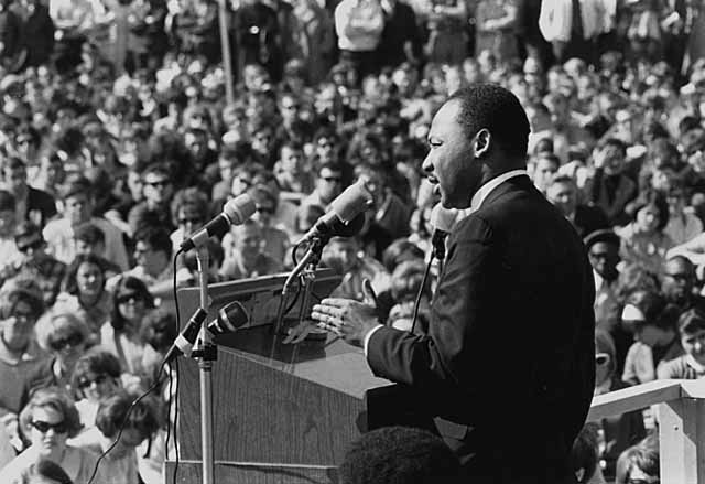 Martin Luther King speaks against the Vietnam War at the University of Minnesota. (Wikimedia Commons)