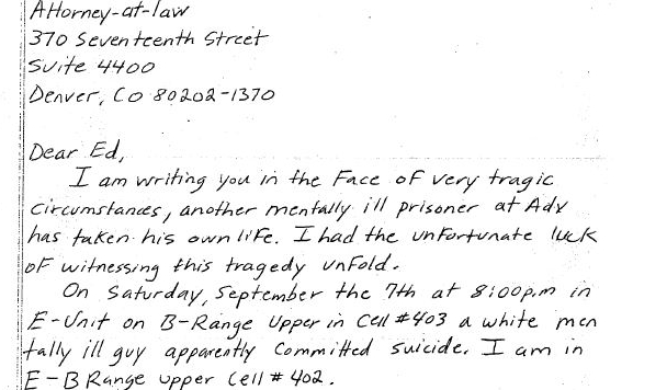 A handwritten letter the prison system doesnt want you to see an excerpt from a letter adx florence inmate jabar currence sent to attorney ed aro after the suicide of robert knott courtesy of ed arojabbar currence expocarfo
