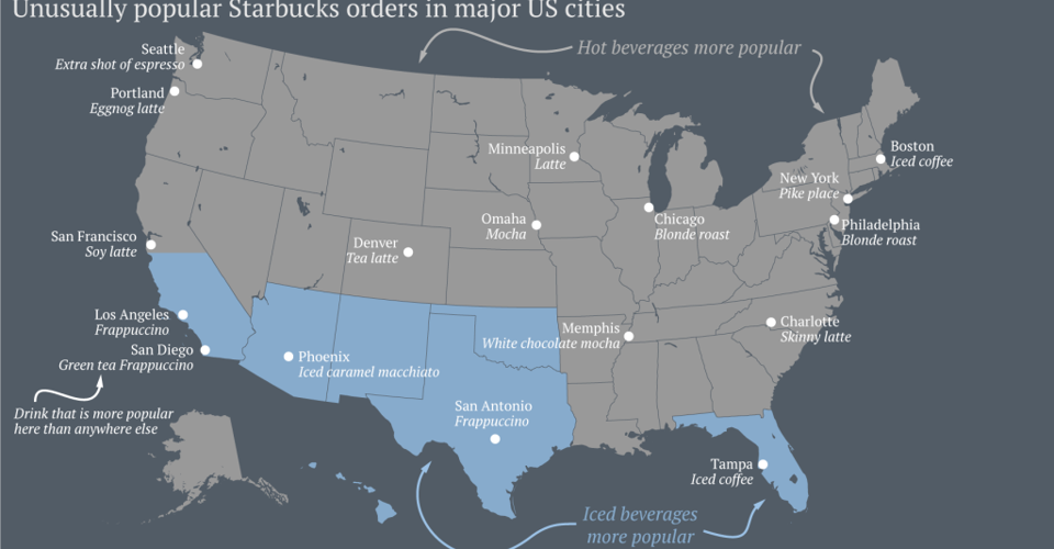 What People Order at Starbucks Around the United States