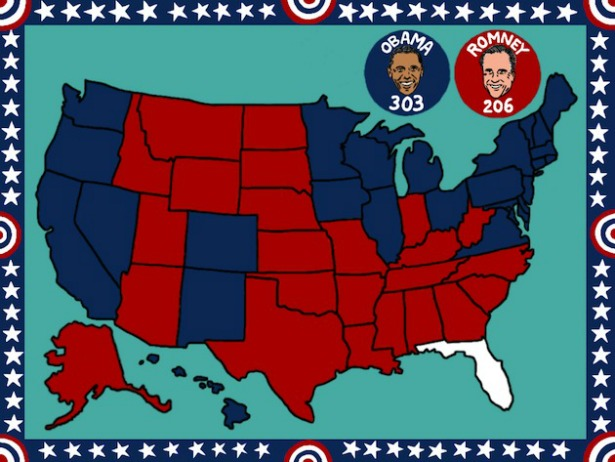 The Election Results Obamas Win In Map The Atlantic - Blank us map with number of electoral votes