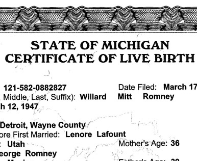 Picture of the Day: Mitt Romney\'s Birth Certificate - The Atlantic