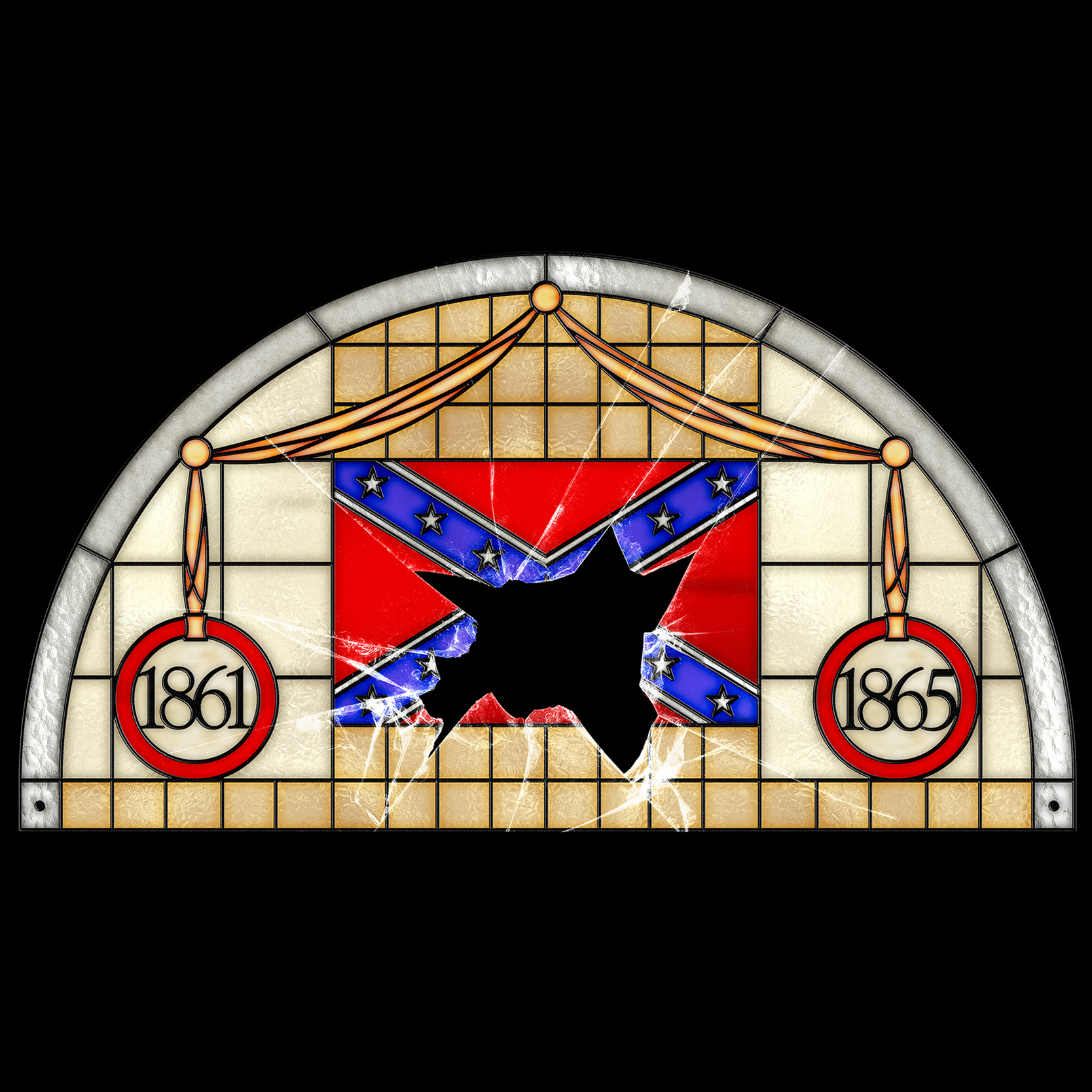 illustration of stained glass confederate flag with a cracked panel