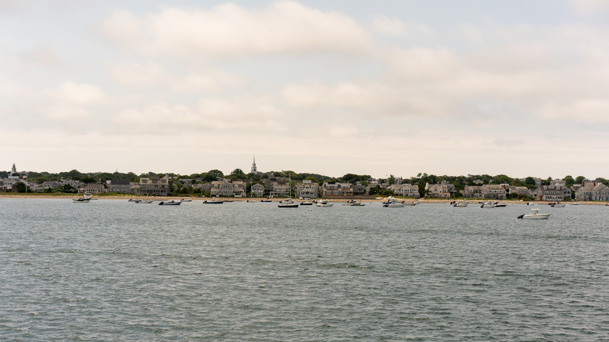 An image of Nantucket from afar, across the water