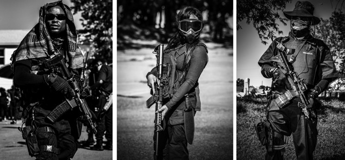 b&w images of different people in homemade uniforms