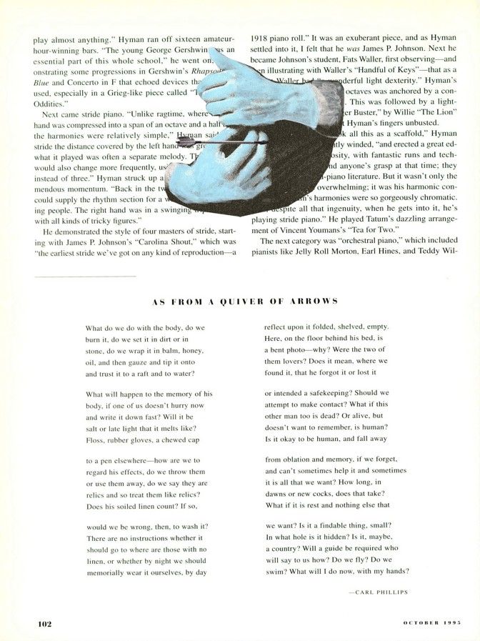 The original page of the poem with a blue collaged image of hands above the poem
